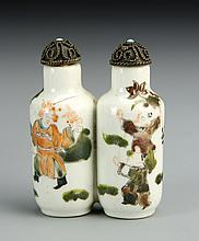 Two Chinese Famille Rose Double Snuff Bottles