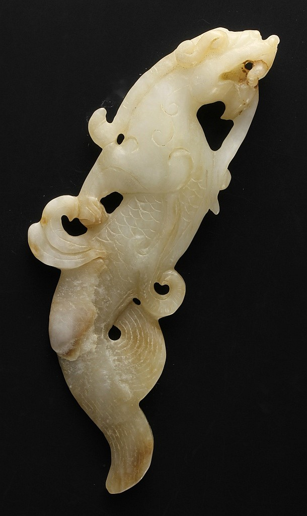 Chinese Antique Jade Dragon with a Fish Tail