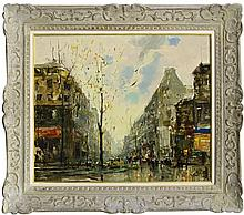 American Oil Painting of a Parisian Scene
