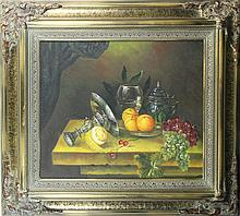 Antique Still Life Framed Oil on Canvas
