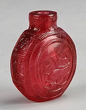 Chinese Peking Glass Snuff Bottle, Qianlong Mark