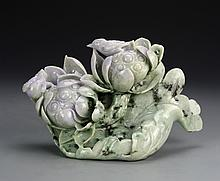 Chinese Carved Jadeite Flowers and Birds