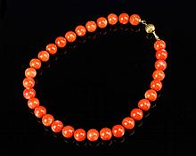 Chinese Red Coral Bead Necklace