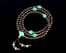 Chinese Black Chenxiang-Turquoise Prayer Beads