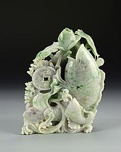 Chinese Jadeite Fish and Flower