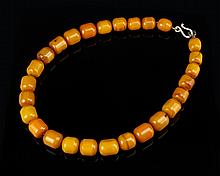 Chinese Carved Mi-La Amber Bead Necklace