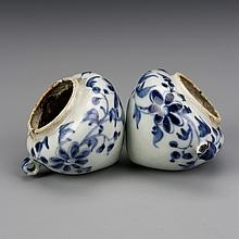 Pair of Chinese Blue and White Bird Feeders