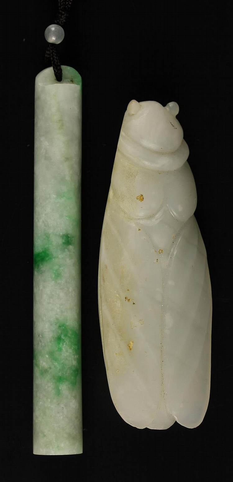 Chinese Jadeite Hat Tube and Jade Pendant
