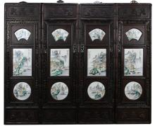 Four Chinese Famille Rose Wood Panels
