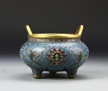 Chinese Cloisonne Tripod Censor