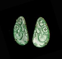 Chinese Jadeite and Gold Ear Pins