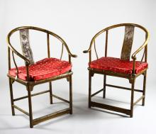 Four Chinese Hardwood Horse Shoe Chairs