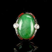 Chinese Jadeite and Gold Ring