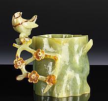 Chinese Carved Jadeite Brush Pot