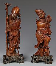 Pair Of Chinese Boxwood Figures