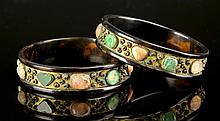 Pair of Chinese Inlaid Tortoise Shell Bracelets