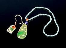 Chinese Ice Jadeite Pendant on Necklace