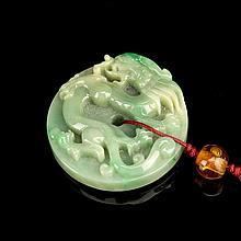 Chinese Jadeite Round Pendant