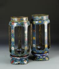 Pair of Chinese Cloisonne Lanterns
