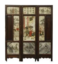 Three Chinese Painted Stone Screens