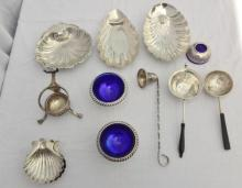 Sterling Silver Nut Dishes, Strainers, Cobalt Lined