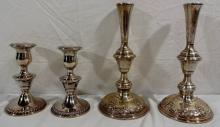 2 Pr Antique Sterling Candlesticks by Wallace & Rogers