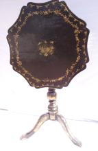 Ca 1840 Chinese Black Lacquer Tilt Top Table