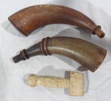 2 Powder Horns, 1 w Scrimshaw & Bone Seamer