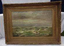 W Ferdinand Macy Painting Old Wreck Nantucket