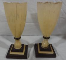 Pair Sailor Made Whale Tooth Urns or Goblets