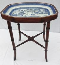 1800s Canton Platter on Stand