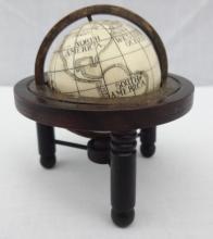 Scrimshawed Whale Ivory Miniature Globe