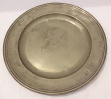 Early English Hallmarked Pewter Charger
