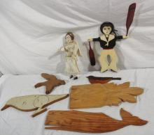 7 Aletha Macy Wood Carvings incl Sailor Whirligig