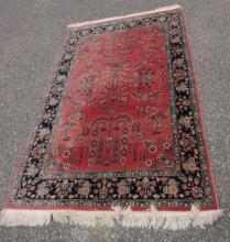 4' x 6' Modern Red Sarouk Oriental Rug