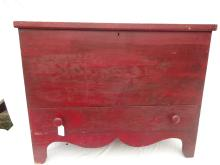 Antique Blanket Chest in Old Red Paint