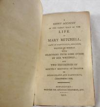 Account of Life of Mary Mitchell Nantucket