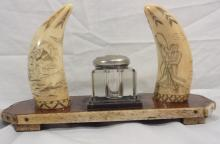 Captain's Inkwell With 2 Scrimshaw Whale Teeth
