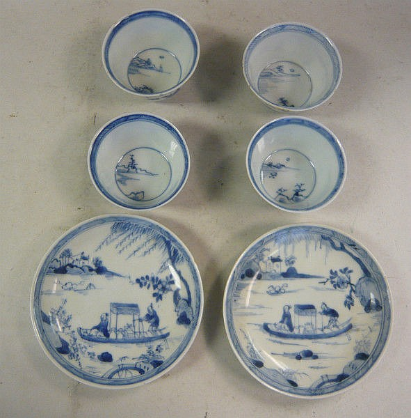 A set of four early 18thC Chinese porcelain tea