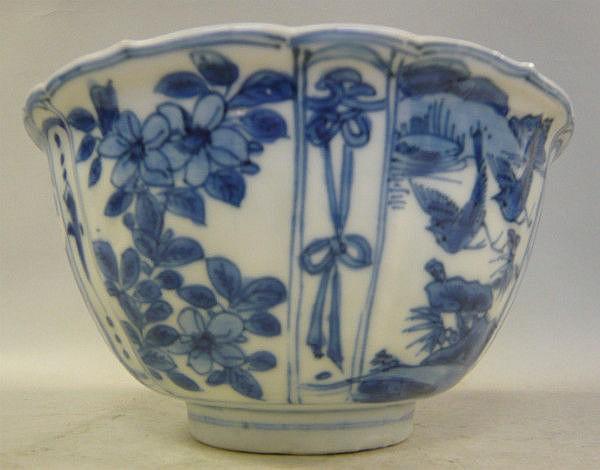 A Chinese Kangxi porcelain bowl of flared design,