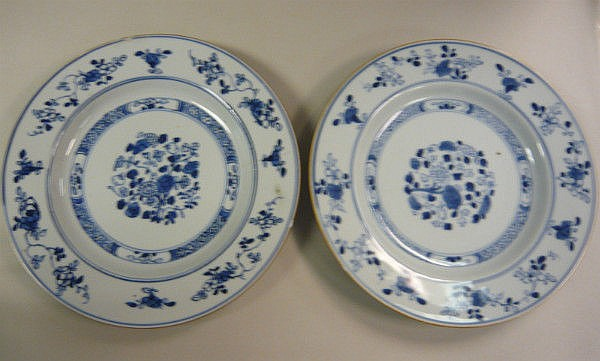 Seven late 18thC Chinese porcelain plates,