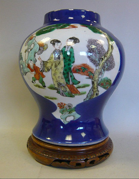 A late 19thC Chinese porcelain vase of baluster