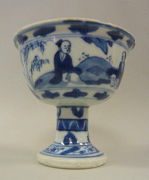 A Chinese Kangxi porcelain pedestal bowl,
