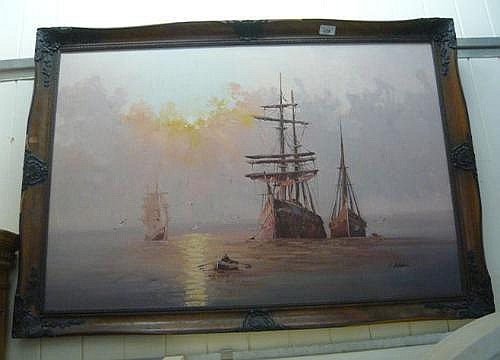 C Alexis - a seascape with boats oil on canvas