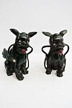 A beautiful pair of green glazed majolica China sculptures