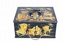 A very beautiful metal coffer, with chinoiserie decoration by Achille Parise (Paris 19th century)