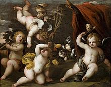 An interesting oli painting depicting 'game of cherubs', Emilian School (Italy 17th century)