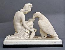 An important withe Carrara marble sculpture, follower of Bertel Thorvaldsen