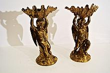 A very interesting pair of gilded bronze sculptures (stoups), Italian School 19th century
