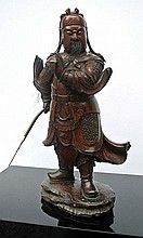 A wooden sculpture of a Japan Warrior